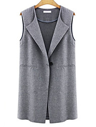 Women's Simple Handsome Lapel Sleeveless Solid One Button Vest Plus Size