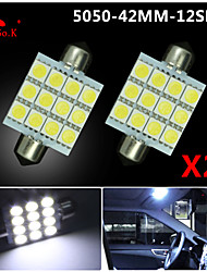 2 X  White 41MM 5050 12SMD Festoon Dome Map Interior LED Light bulbs DE3423 6418 12V