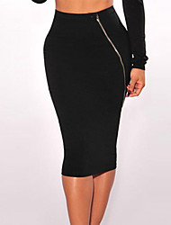 Women's Silver Zipper Accent Knee Length Skirt