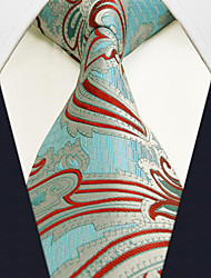 Men's Necktie Tie Paisley Blue 100% Silk Business Dress