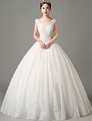 Ball Gown Wedding Dress - Ivory Floor-length Scoop Lace