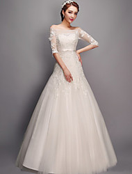 Trumpet / Mermaid Wedding Dress Floor-length Bateau Tulle with Appliques / Bow / Sash / Ribbon