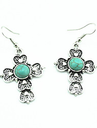 Vintage Look Antique Silver Plated Payer Turquoise Stone Drop Dangle Earring(1Pair)