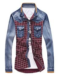 Повседневный - MEN - Повседневные рубашки ( Хлопок Как у рубашки - Длинный рукав