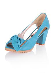 Women's Shoes Chunky Heel Peep Toe / Comfort Heels Wedding / Outdoor / Dress / Casual Blue / Yellow / Pink / Beige
