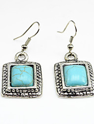 Vintage Look Antique Silver Plated Stone Square Turquoise Alloy Dangle Drop Earring(1Pair)