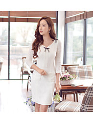 vestido branco sólido, bodycon v pescoço longo da luva das mulheres
