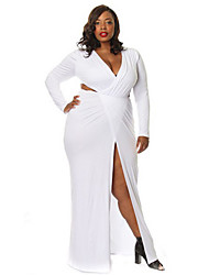 Women's Sexy / Party / Cocktail Solid Plus Size Dress , Deep V Maxi Cotton