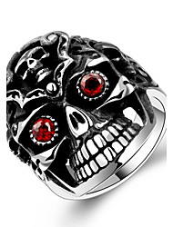 Hot New Fashion Unisex 316L Stainless Steel Red Eyes Zircon Skull Ring Anello Uomo Beauty Jewelry Gift