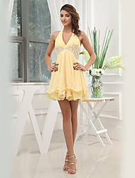 Formal Evening Dress - Gold A-line V-neck Short/Mini Chiffon