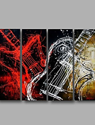 Ready to Hang Stretched Hand-Painted Oil Painting Four Panels Canvas Wall Art Modern Black Red Guitar Abstract