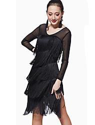 Robes(Noire,Elasthanne / Polyester,Danse latine / Samba)Danse latine / Samba- pourFemme Frange (s) Spectacle Danse latine