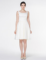 A-line Wedding Dress Knee-length Square Satin / Tulle with