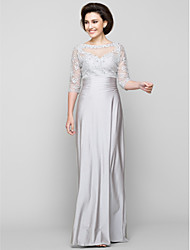 Sheath / Column Mother of the Bride Dress Ankle-length Half Sleeve Tulle / Charmeuse with Beading