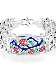 Generous Ethnic Style Women's Plum Blossom  Brass Silver Plated ID Bracelet(Silver)(1Pc)