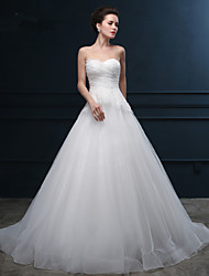 Ball Gown Wedding Dress Chapel Train Sweetheart Organza / Satin with Appliques / Sequin / Side-Draped