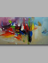 "Ready to hang Stretched Hand-Painted Oil Painting Canvas  40""x20"" Wall Art Abstract Blue Purple Yellow Red"