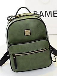 Women PU Bucket Backpack - Green / Brown / Black