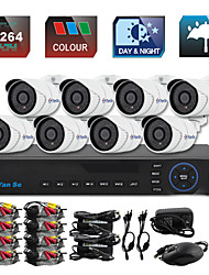 YanSe® 8CH D1 CCTV DVR Kit IR Color Waterproof Camera Security Cameras System 721CC08