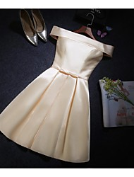Knee-length Satin Bridesmaid Dress - Ruby / Champagne A-line Off-the-shoulder