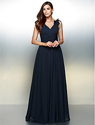 A-Line V-neck Floor Length Chiffon Formal Evening Dress with Flower(s) by TS Couture®