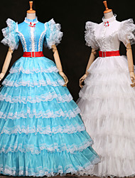 Steampunk®White /Blue Long Sleeves Multilayer Layered Princess Victorian Royal Vintage Party Long Prom Dresses