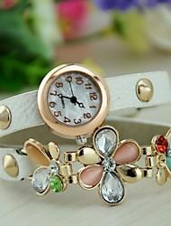 Mulheres Relógio de Moda Bracele Relógio Quartzo Couro Banda Flor Preta Branco Vermelho Verde Rose