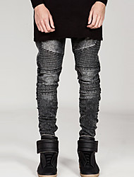 Mens fashion Fold stripe jeans Runway Distressed slim elastic jeans jeans hiphop pantsBANT11
