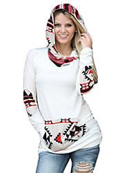 Damen Hoodies  -  Leger Langarm Baumwolle Undurchsichtig