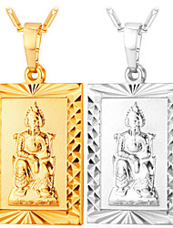 TopGold New 18K Real Gold Plated Buddhism Pendant  for Men / Women Gift Platinum 2 Color Buddha Jewelry  High Quality