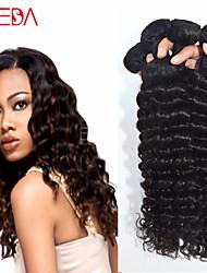 4pcs / lot cru onda preto indiano cabelo virgem onda profunda extensões de cabelo humano cabelo natural 8 '' - 30 '' cabelo tecem
