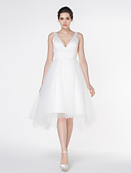 Lanting Bride® A-line Wedding Dress Asymmetrical V-neck Satin / Tulle with