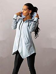 Women's Hot Sale Letter Print Large Size Zipper Hoodies , Casual / Print Hooded Long Sleeve