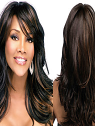 Capless Long Black Mix Color Synthetic Wig With Side Bang