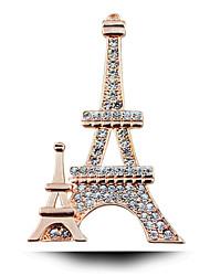 paris romântico clássico cravejado de diamantes torre Eiffel broche.