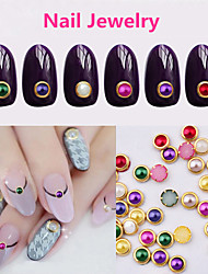 60pcs  4MM Nail Metal Edging Candy Color Small Pearl