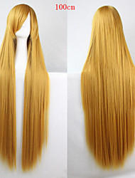 Fashion Color Cartoon Wig 100 CM  Yellow Long Straight Hair Wigs