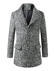 Men's Long Sleeve Regular Coat , Cotton / Polyester Pure
