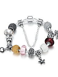 Classic Vintage Women's Butterfly Flower Love Stoving Varnish Glass Silver Plated Tin Alloy Charm Bracelet(Silver)(1Pc)