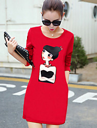 Women's Print Red / Black Dress , Casual Round Neck Long Sleeve