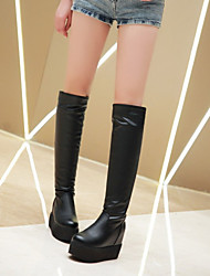 Women's Shoes Customized Materials / Leatherette Flat Heel Platform / Fashion Boots Boots Dress / Casual Black / White