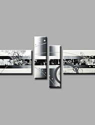 Ready to Hang Stretched Hand-Painted Oil Painting Four Panels Canvas Wall Art Modern Grey Silver Abstract