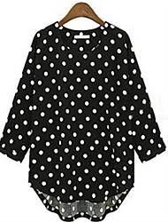 Women's Polka Dot White / Black Blouse , Round Neck ½ Length Sleeve, Plus Size