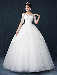 Ball Gown Wedding Dress Floor-length Bateau Lace / Satin / Tulle with Crystal / Sequin