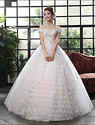 Ball Gown Wedding Dress-Floor-length Bateau Lace / Satin / Tulle
