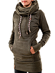 Women's Autumn Fashion Pocket Solid Color Long Hoodie