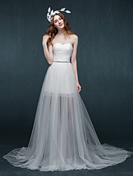 A-line Wedding Dress Two-In-One Wedding Dresses Sweep / Brush Train Sweetheart Satin / Tulle with Appliques / Sash / Ribbon