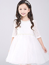 Girl's Jacquard Dress,Cotton / Others All Seasons Pink / White