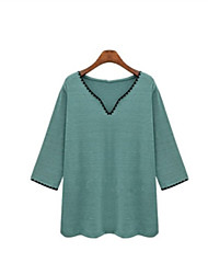 Spring New Casual Fashion Women Loose Comfortable V Neck 3/4Sleeve Solid Color T-Shirt Tops Blouse
