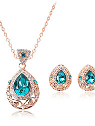 Women Wedding Party Jewelery Bridal Water-drop Ocean Heart Blue Crystal Necklace Earrings Two - piece